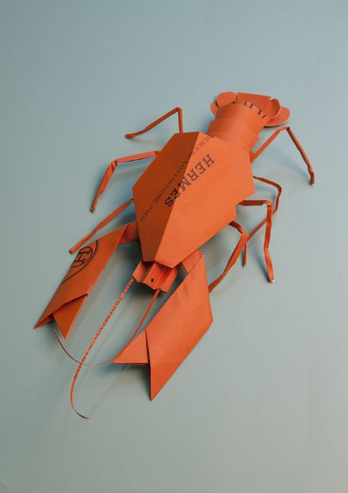 Origami Lobster Made From A Repurposed Hermes Shopping Bag By Sarah Illenberger