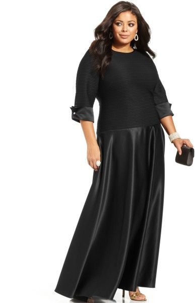 2e83ce2336c9d Women s Black Plus Size Three Quarter Sleeve Shutter Pleat Gown ...