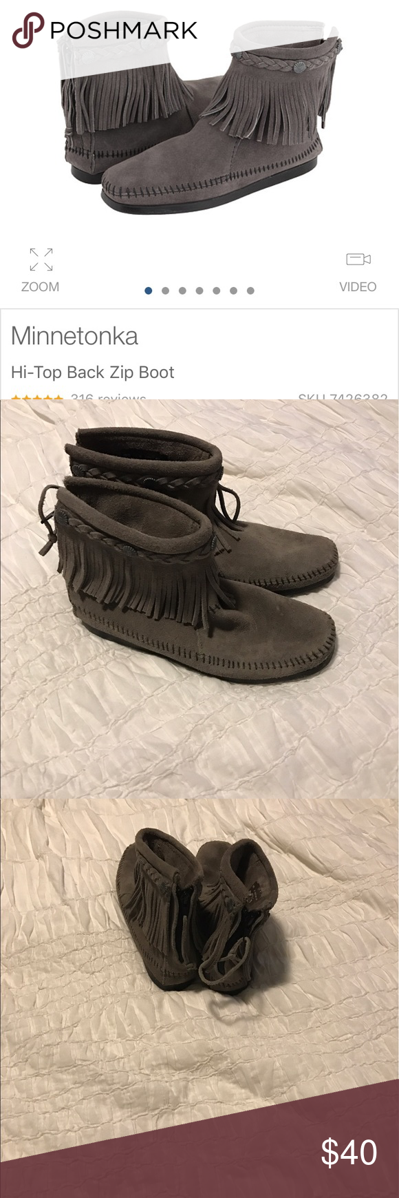 Minnetonka Hi-Top Back Zip Boot Size 8. Only worn two times. So comfy and adorable. Minnetonka Shoes Moccasins