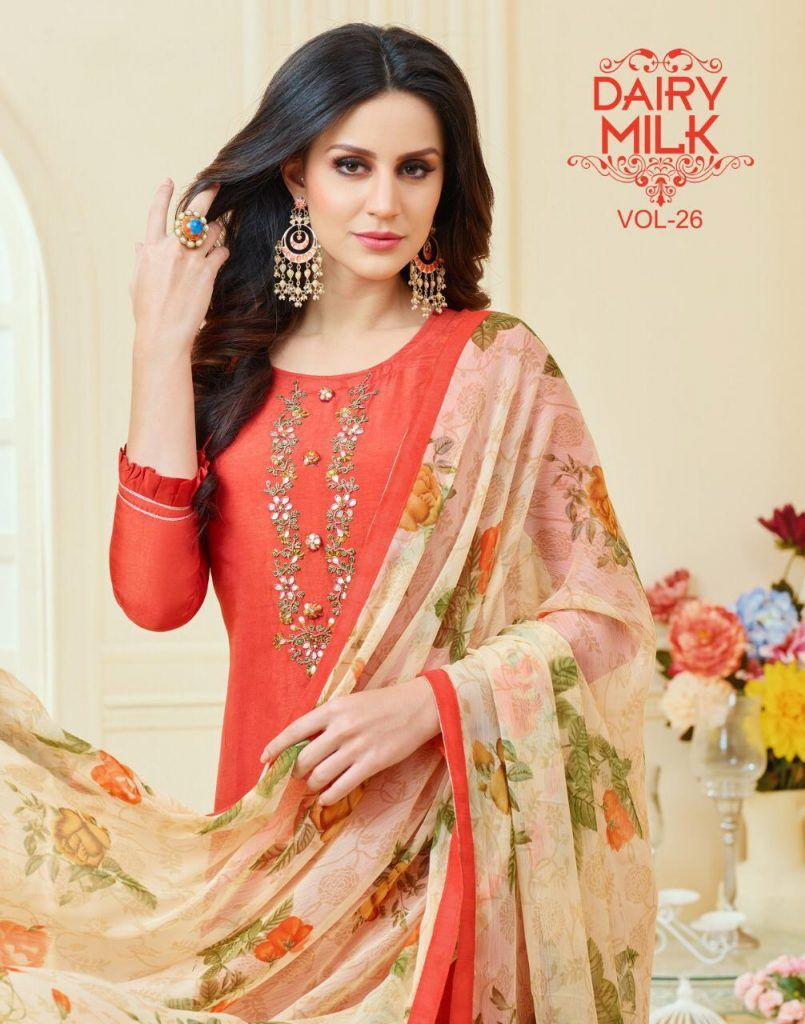 8c7e5705e2 dairy milk vol 26 by angroop plus chanderi cotton work suits at cheapest  rate - Krishna Creation