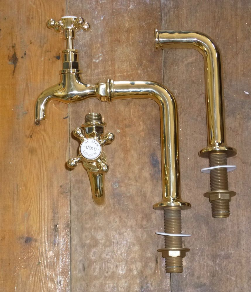 Kitchen sink stainless steel double drainer single bowl in vic ebay - Details About Pair Of Polished Brass Belfast Sink Bib Taps With Upstands Traditional Kitchen