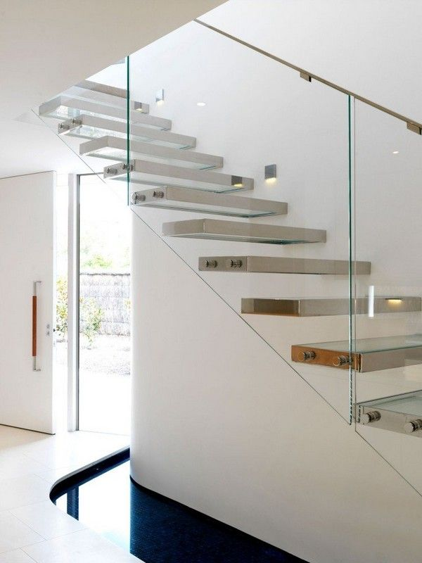 Best Stainless Steel Glass Floating Steps Over An Indoor 400 x 300