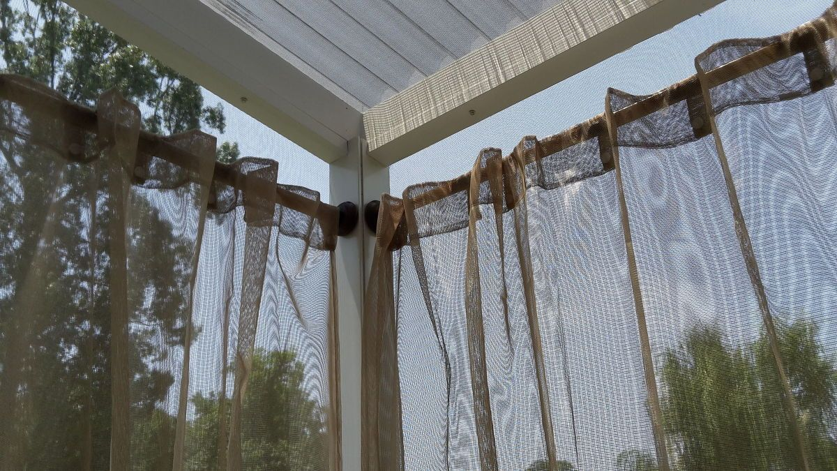 Outdoor Curtain Rods For Aluminum Screen Room Outdoor Curtain Rods Outdoor Curtains Pergola Curtains
