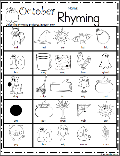 Halloween Rhyming Worksheet Madebyteachers in 2020