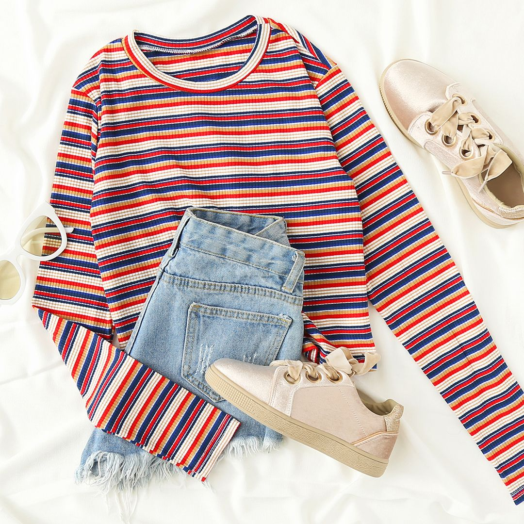 Contrast Striped Crop Tee