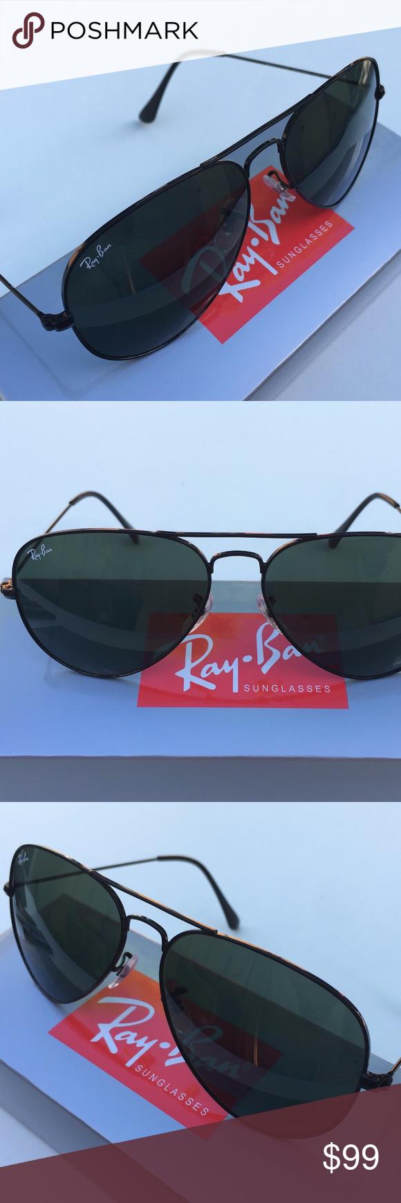 284f77744e72d NEW RAY-BAN AVIATOR Sunglasses Green Classic Black 100% AUTHENTIC   BRAND  NEW