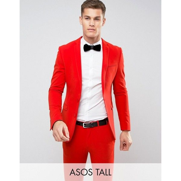 ASOS TALL Super Skinny Suit Jacket in Tomato Red ($48) ❤ liked on ...