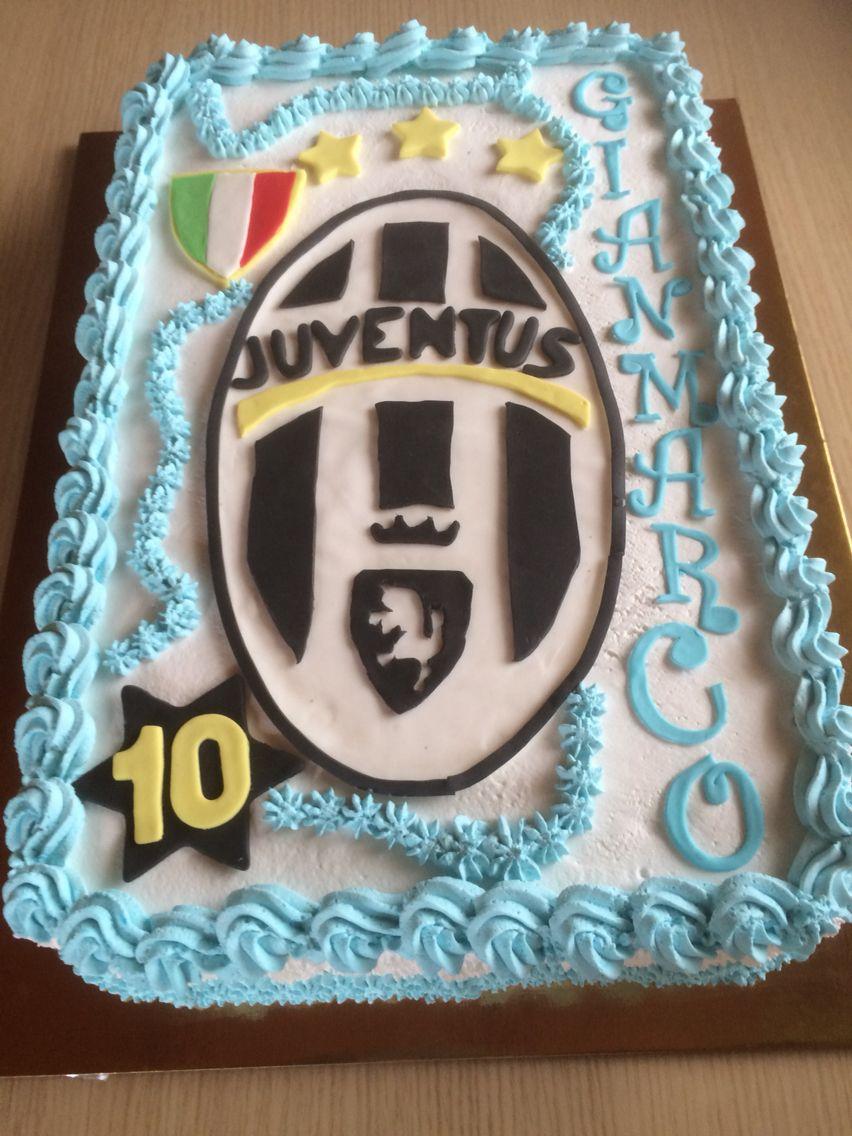 Torta di compleanno con stemma Juventus e zebra in pdz