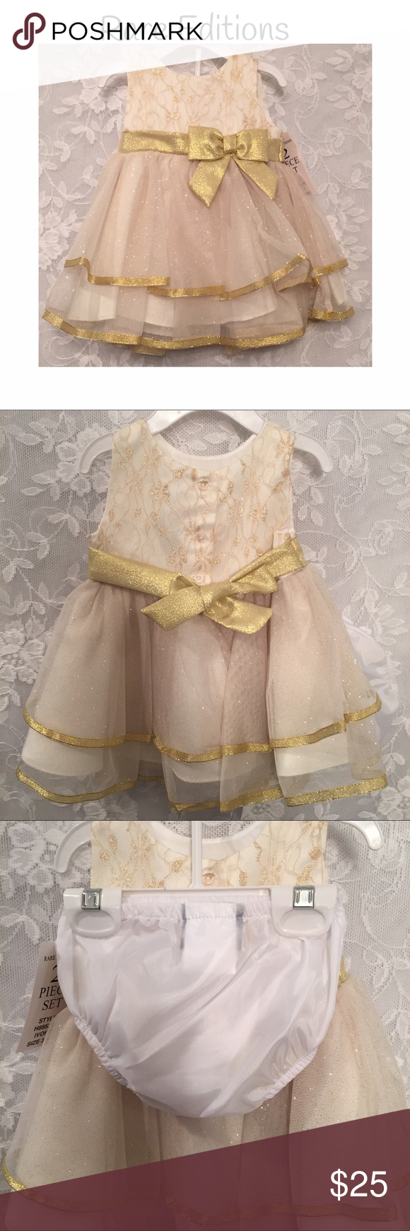 rare editions dresscreamy glittery gold color nwt formal
