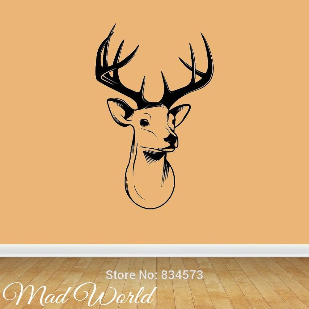 Mad World-STAGS HEAD DEER Silhouette Wall Art Stickers Decal Home ...