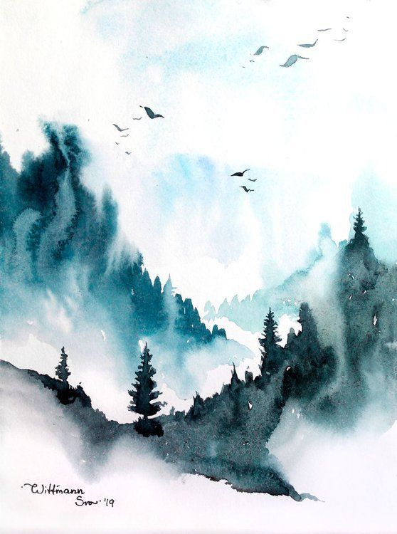 Peacfully morning in the mountains  1 Airy watercolor painting Mountains on the background and trees at the first plan Birds flying Impessionistic style Watercolor artwor...