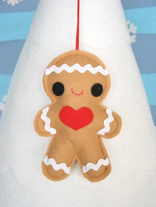 Gingerbread Boy Kawaii Cute Softie Ornament