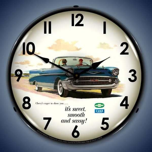 1957 Bel Air Convertible Led Lighted Wall Clock 14 X 14 Inches Bel Air Wall Clock Light Chevy Bel Air
