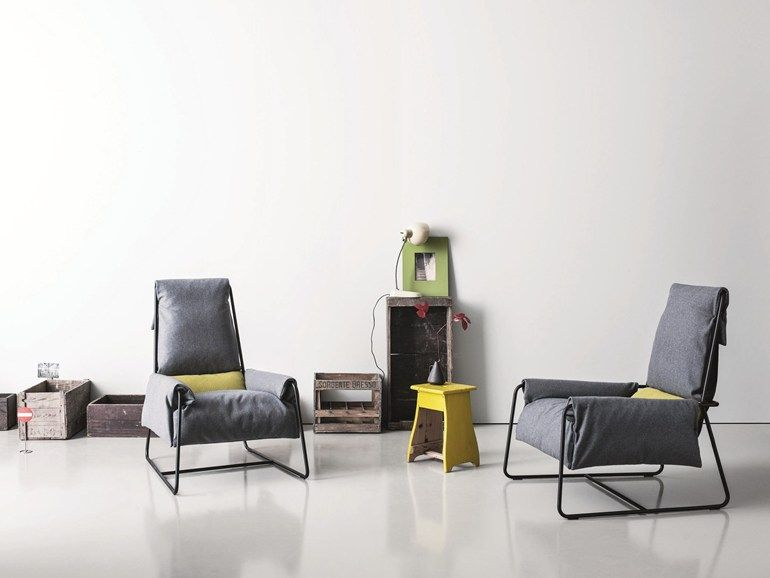 Sled Base Armchair With Footstool MASAI By Saba Italia | Design Marco Zito