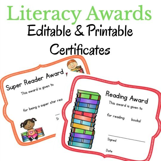 Literacy Printable Certificates that You Can Edit! Printable - editable certificate templates