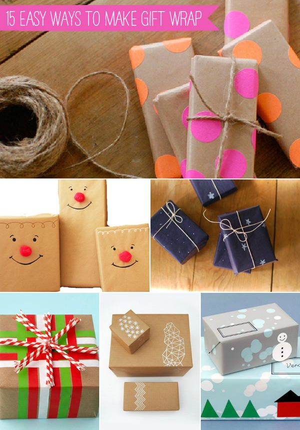15 Easy Ways To Make Gift Wrap. Tutorial by Babble Voices.