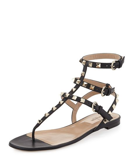 38a6ccf88b86 Rockstud Ankle-Wrap Flat Thong Sandal