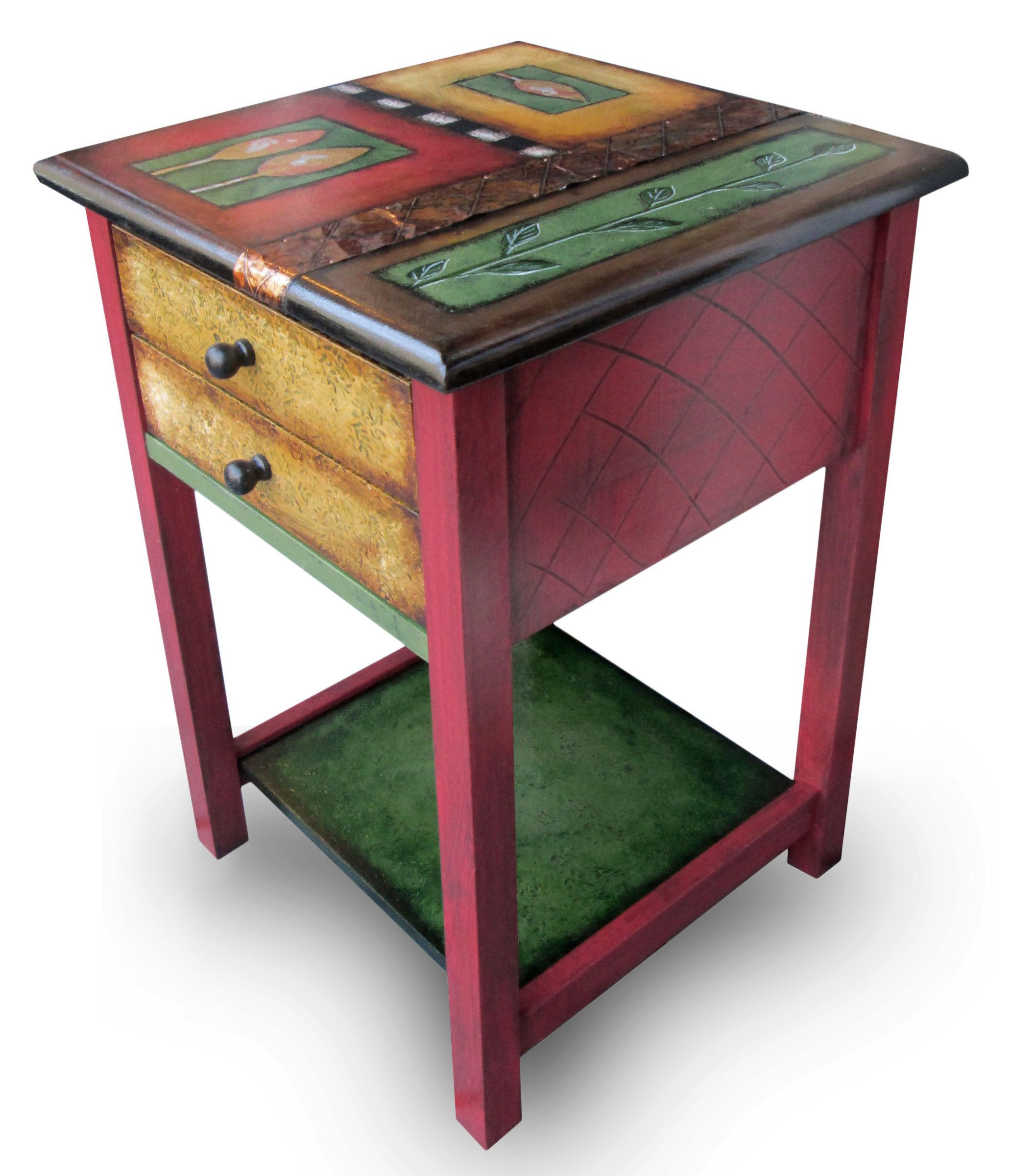 All That Glitters End Table by Wendy Grossman. Grossman hand paints every surface of this wood table in colorful, original designs with embossed copper accents. She uses only real gold, copper, and silver leaf for accents. Features two drawers and a lower shelf.