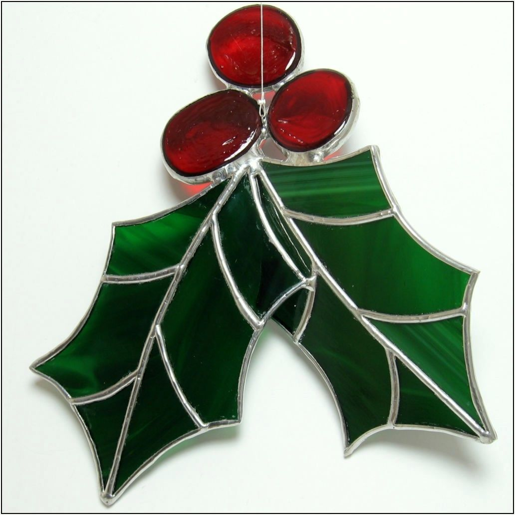 Holly Berry 3 D Stained Glass Big Christmas Ornament Free Postage 25 00 Via Etsy Stained Glass Ornaments Stained Glass Christmas Stained Glass