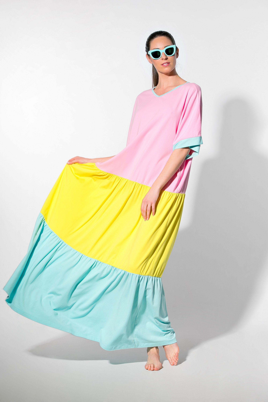 Rainbow Summer Boho Maxi Dress In Pastel Pink Yellow Blue For Etsy Maxi Dress Cotton Summer Dresses Boho Maxi Dress [ 3000 x 1999 Pixel ]