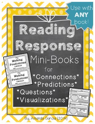 Reading+Response+MiniBooks+Connections,+Predictions,+Questions,+Visualizations+from+Amanda+Garcia+on+TeachersNotebook.com+-++(10+pages)++-+My+NEW+Freebie!++These+4+half-page+books+are+the+ideal+place+for+students+to+record+their+responses+to+their+reading!+They+can+be+used+with+ANY+silent+reading+book!
