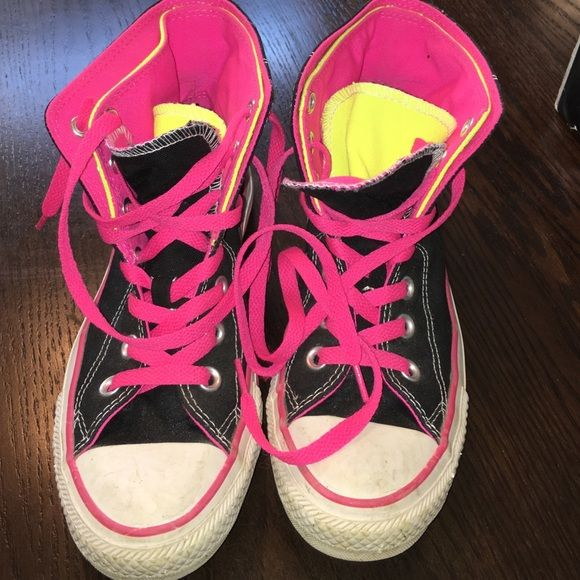 Multi colored women's converse Hot pink/ black/ white/ fluorescent yellow.  Great gently