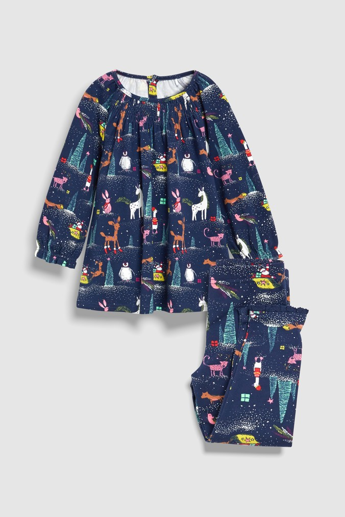 e79b40d94ac8 Girls Next Navy Christmas Printed Legging Pyjamas With Smock Top ...