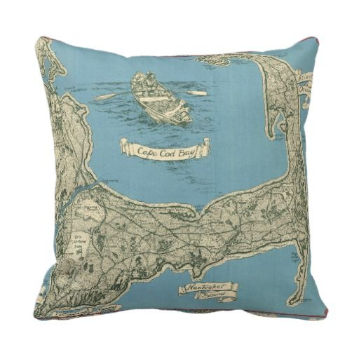Vintage Map Of Cape Cod 40 Throw Pillow Vintage Maps And Throw Inspiration Cape Cod Decorative Pillows