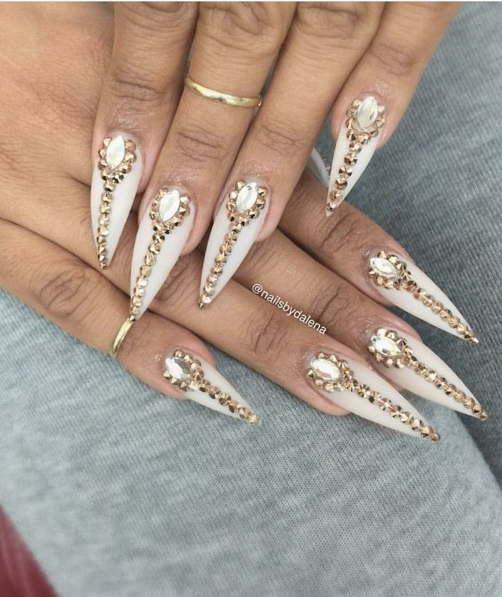 Long with stiletto nails with gems on every finger | Nails ...