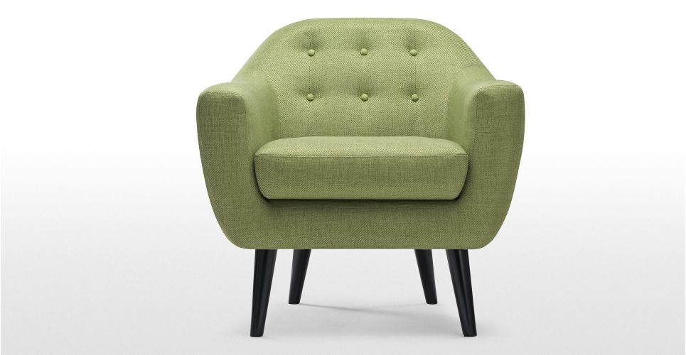 Armchair In Upholstered Lime Green Ritchie Lounge