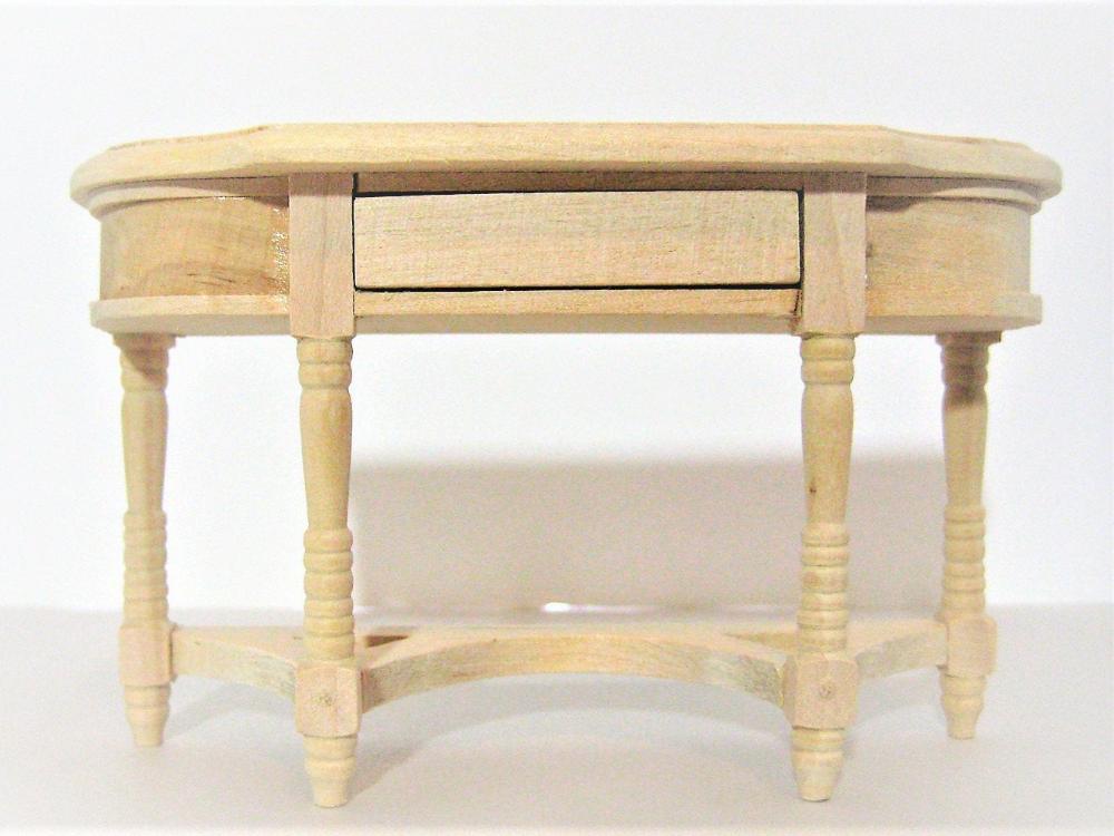 Dolls House Side End Table Unfinished Bare Wood Miniature Living Room Furniture