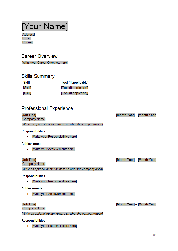 RESUME TEMPLATES  Resume Template  How To Write Stuff