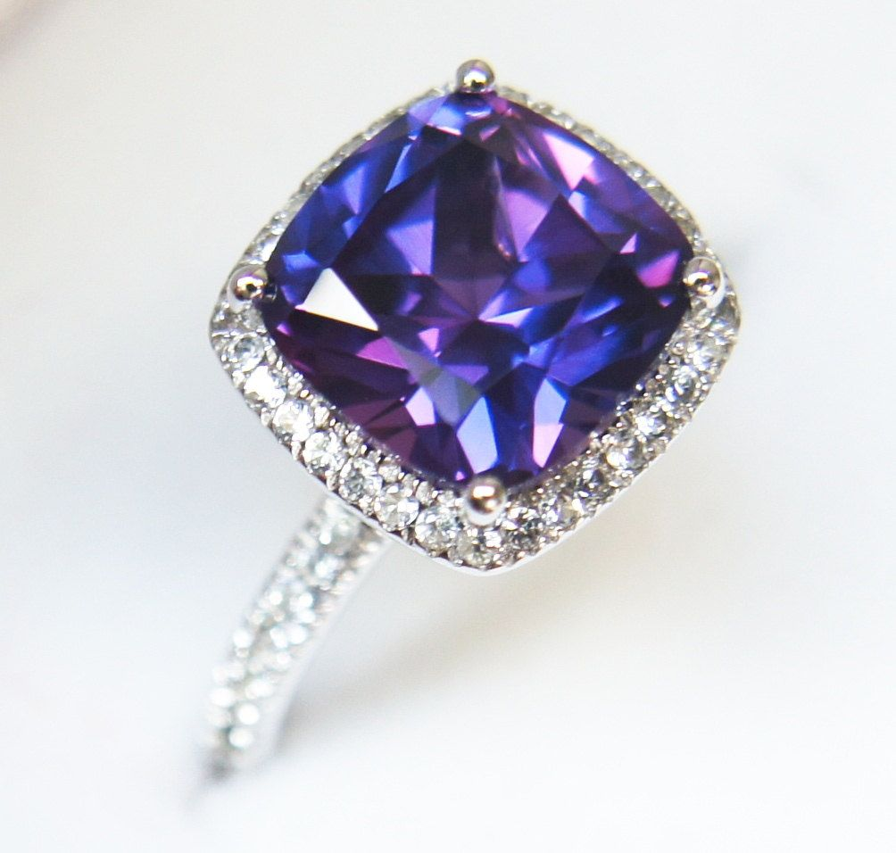 Blue Lavendar Sapphire Halo Ring Engagement Ring Or Right Hand