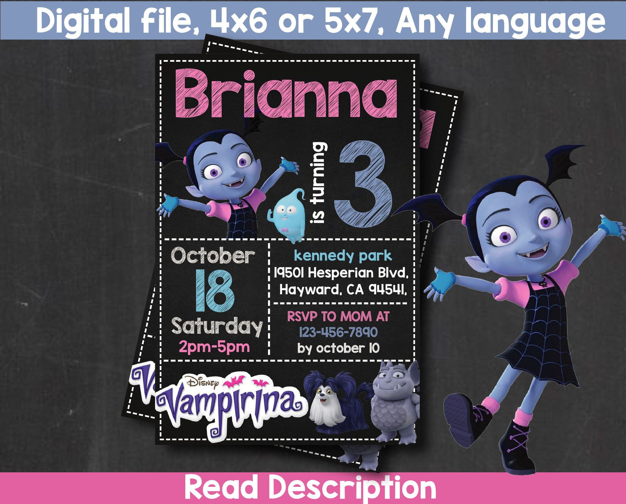 VAMPIRINA Invitation, Vampirina Birthday Invitation, Vampirina Printable  Invite, Vampirina Party, Vampirina Birthday