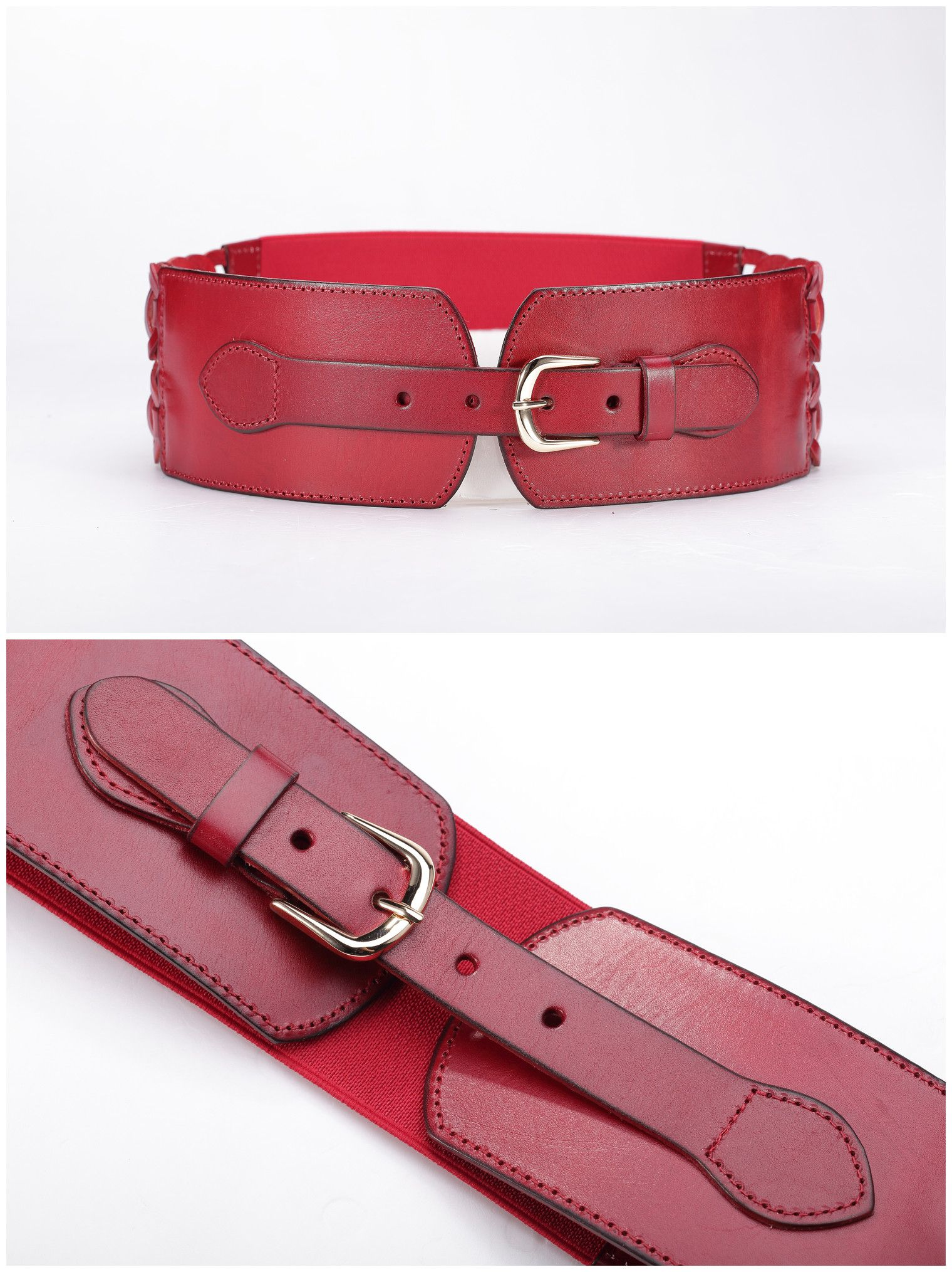 Women Braided Leather Red Belt for Dress Tops http://www ...