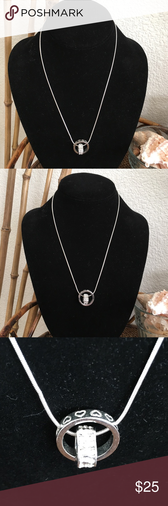 Macy S 18kgp White Gold Heart Rhinestone Necklace Rhinestone Necklace Macys Jewelry Necklace
