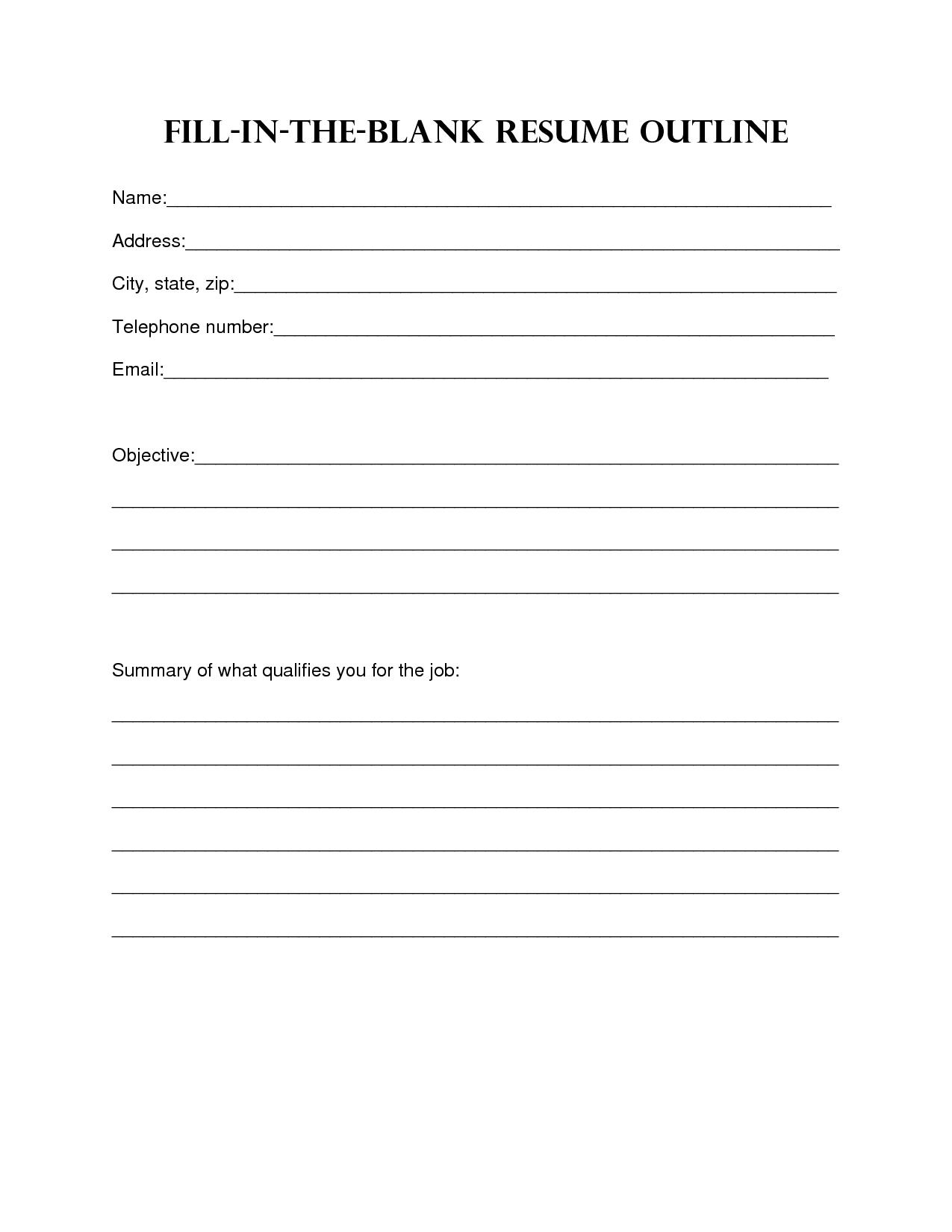 Pin Blank Resume Fill In PDF httpwwwresumecareerinfopin