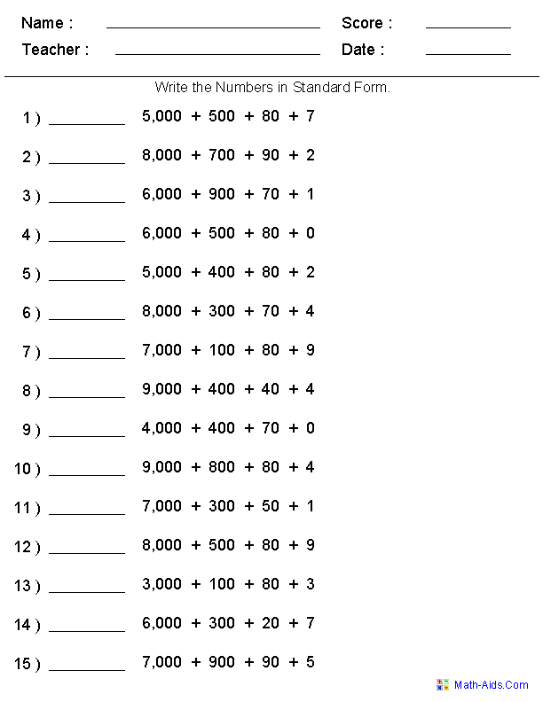 Standard Form Place Value Worksheets Generate as many versions – Free Math Worksheets Generator