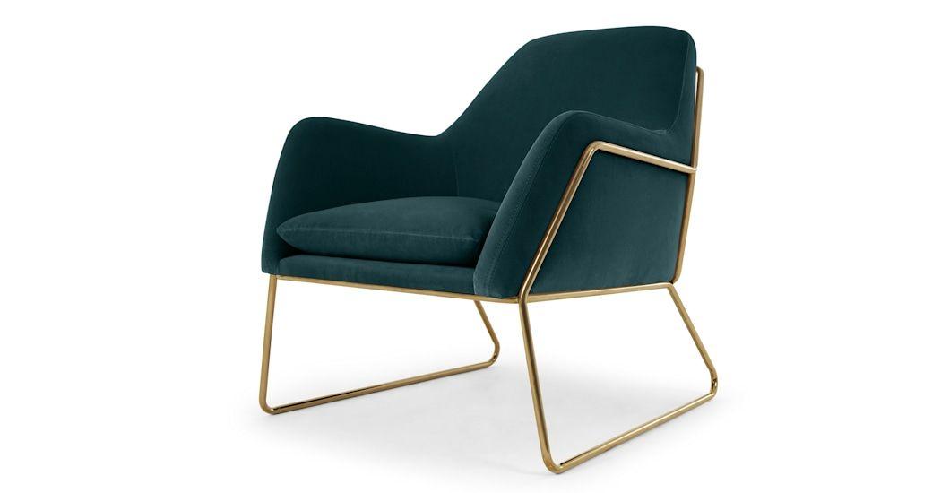 Frame, fauteuil, velours bleu pétrole et cadre doré | MADE