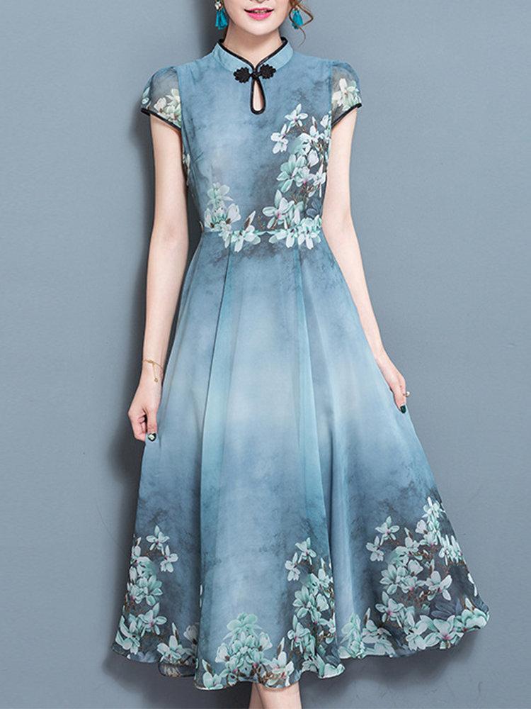d4245a47274 Chinese Style Printed Mandarin Collar Short Sleeve Dresses
