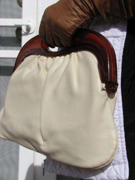 Vintage cream handbag clutch purse faux patent leather and lucite