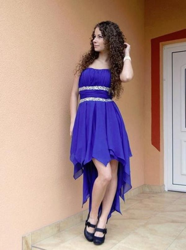 Simple & Hot Strapless Royal Blue Beading Hi-low Homecoming Dresses ...