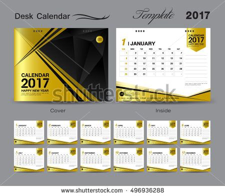 set Gold Desk Calendar 2017 template design, cover Desk Calendar - calendar flyer template