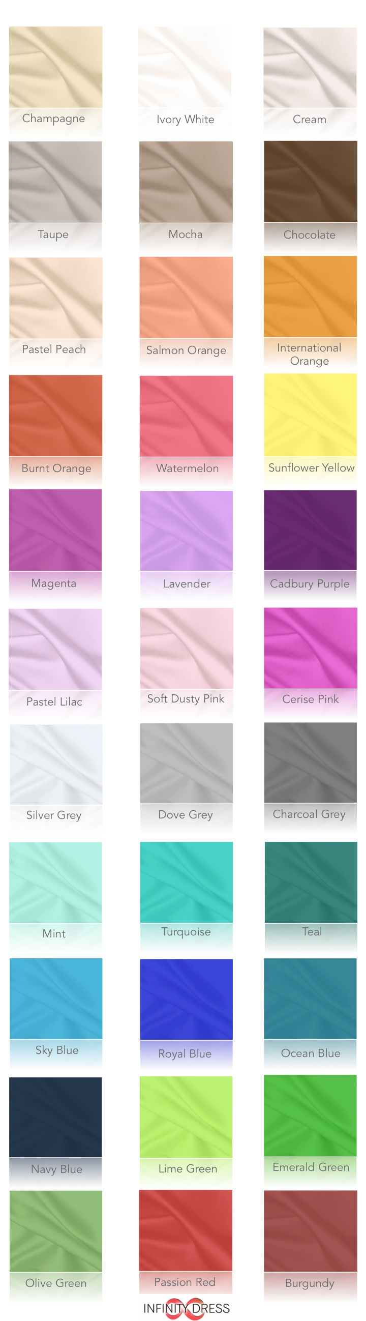 Colour chart for infinity dresses i like lavender softy dusty colour chart for infinity dresses father of the groom is wearing navy blue bridesmaids are wearing blush which looks like the champagnepastel peach ombrellifo Image collections