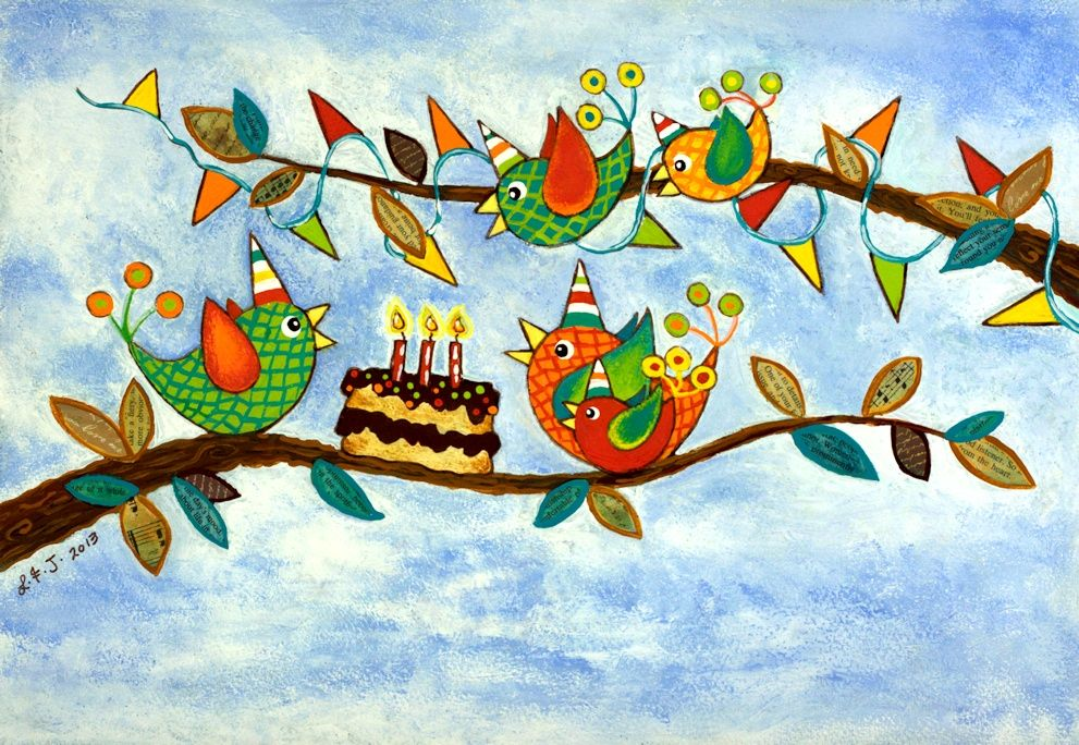 Happy birthday birdies beatiful hand painted card design by – Birthday Card Australia
