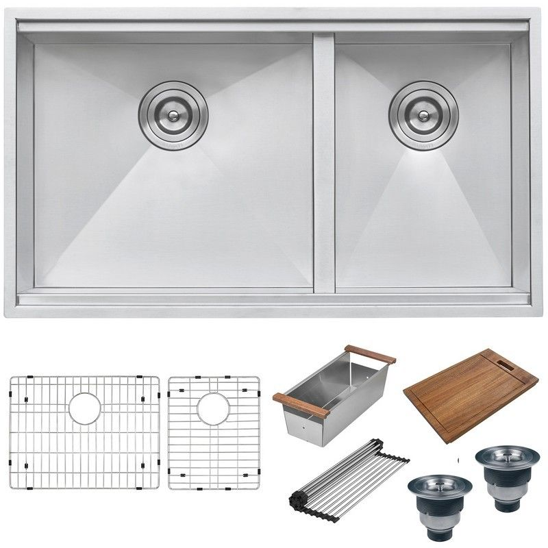 Ruvati Rvh8356 33 Inch Workstation Ledge 60 40 Double Bowl Undermount 16 Gauge Stainless Steel In 2020 Stainless Steel Kitchen Sink Stainless Steel Kitchen Workstation