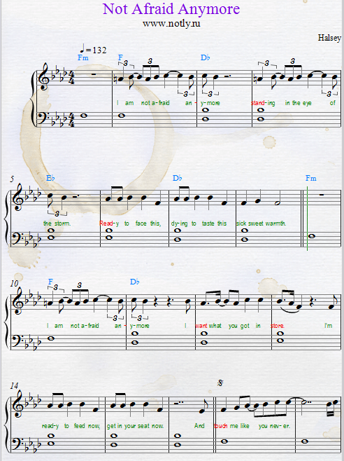 Halsey — Not Afraid Anymore Download PDF Piano Sheet Music Fifty Shades Darker