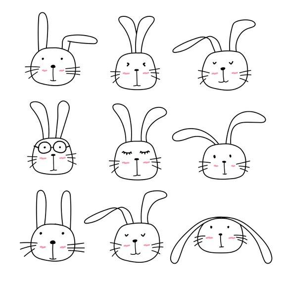 Cute Bunny Clipart Cute Animal Clipart Rabbit Clipart   Etsy