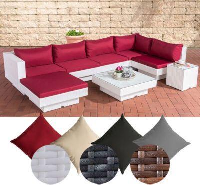 Poly Rattan Gartenmöbel Lounge Set TUNIS, 6 Sitzplätze, Lounge Sofa   Rattan