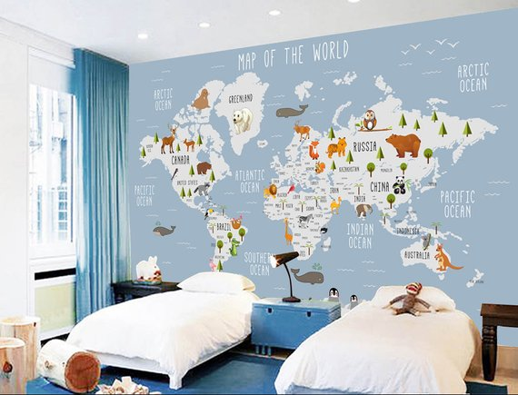3d kids animal world map removable wallpaper,peel and stick wall